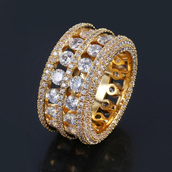 Gold Silver 6 Layer Diamond Band Ring