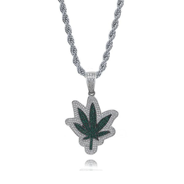 Green Leaf Pendant Marijuana Maple Necklace