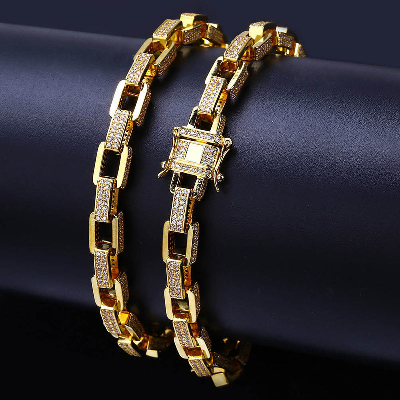 12mm Hip Hop Jewelry Iced Out Hermes Chain Gold Plated Bracelet