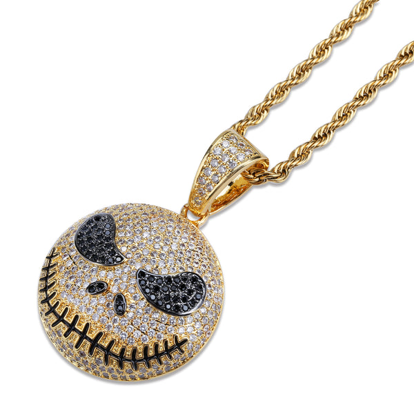 Hip Hop  Gold Iced Jack Skellington pendant