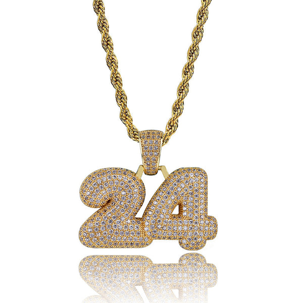 Hip Hop Number 24 Bubble Letter pendant