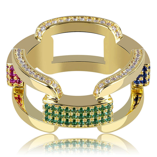 Hip Hop Rainbow Chain Ring