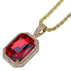 Gold Plated Trendy Bling Hip Hop Ruby Pendant
