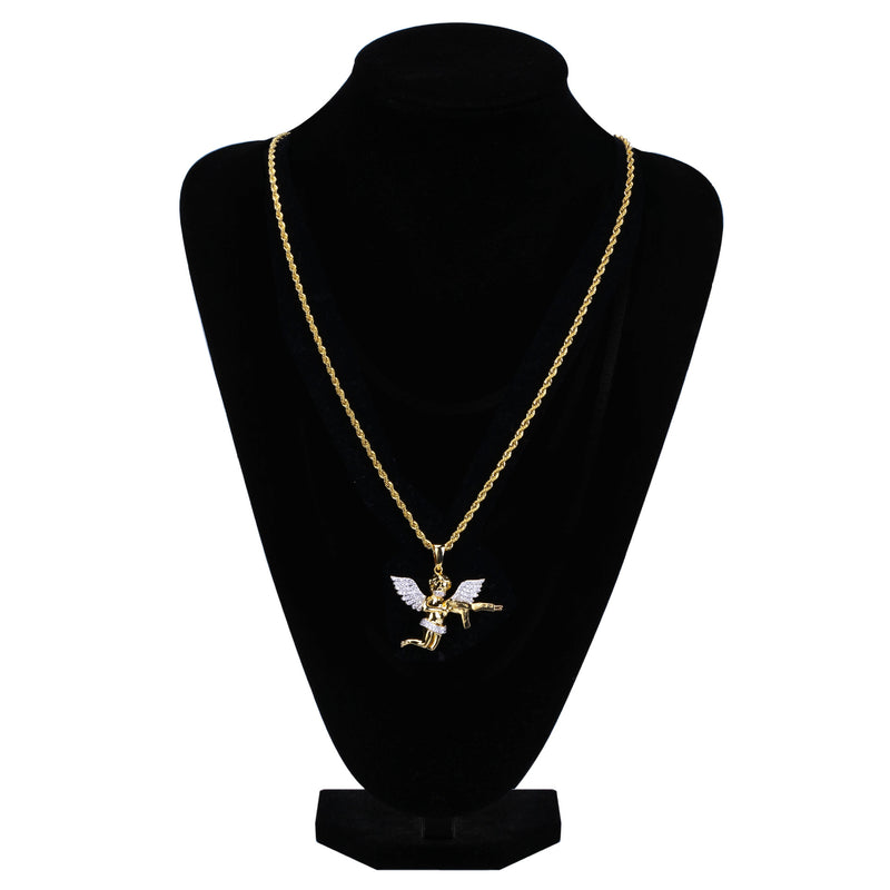 18K Gold-plated Iced Angel Of Death Pendant
