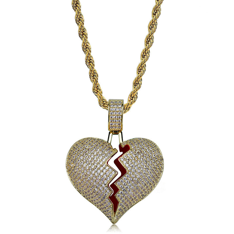 18K Gold Finish Iced Broken Heart Pendant