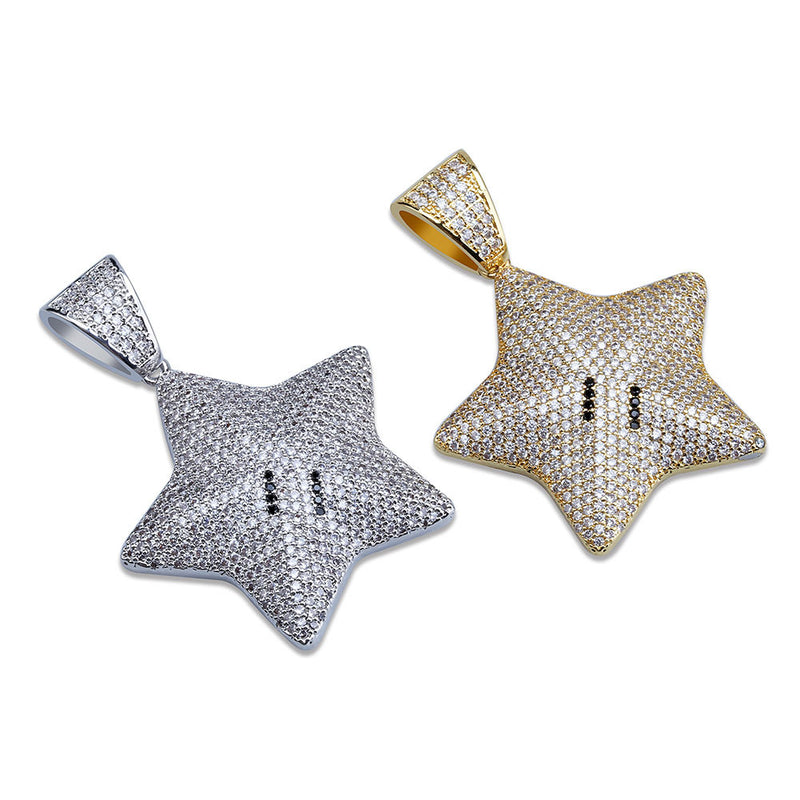 Iced Out Gold Silver Mario Star Lab Bling Pendant