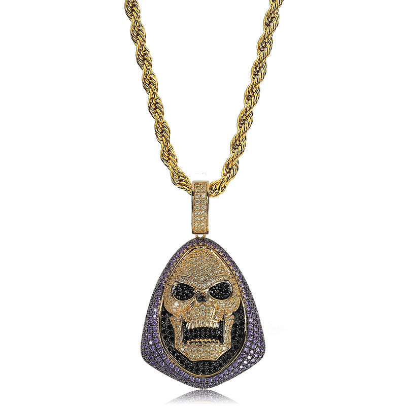 Iced Out Grim Reaper Skull Head Necklace
