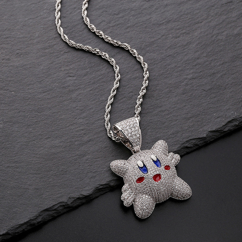 Iced out 3D Kirby Pendant Necklace