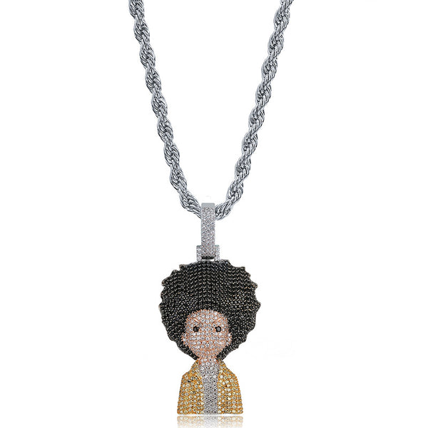 Iced out The Boondocks Pendant Huey/Riley