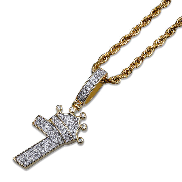 Iced out number 7 with Crown Pendant in 2019