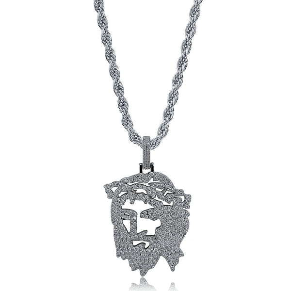 Diamond Crown Jesus Piece Face Pendant