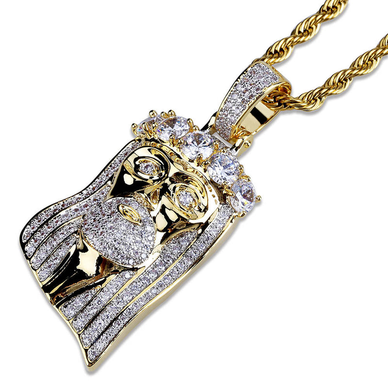 18K Gold-plated King Mustache and Hair Iced Jesus Pendant