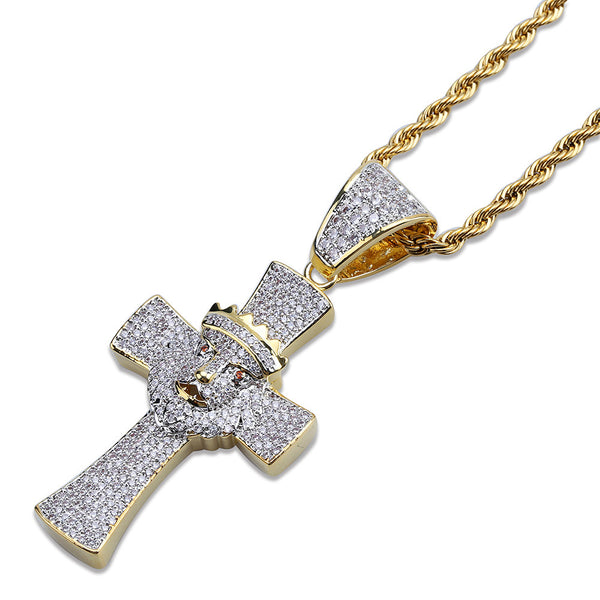 Lion Head Pendant Necklace Gold Plated Cross