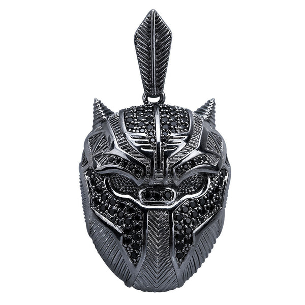 Marvel's Black Panther Mask Pendant Hip Hop Iced Out Jewelry