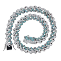 14mm Iced Two Tone Cuban Link Hip Hop Chain in Mint Green & Silver