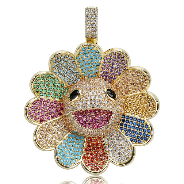 18K Gold-plated Murakami Takashi Smiley Sunflower Spinner Pendant