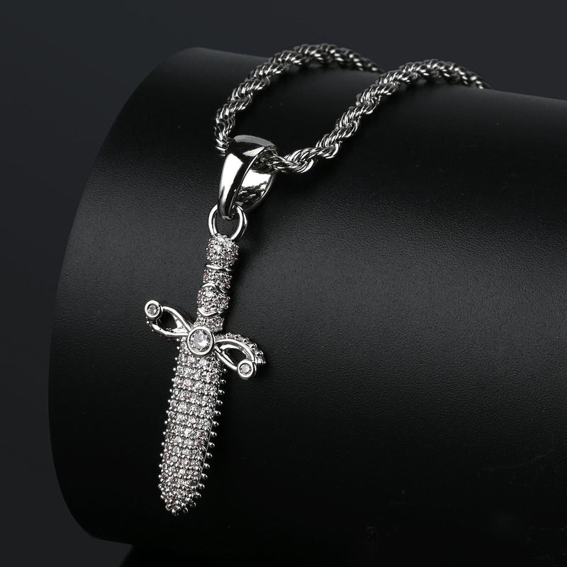 Plated Sword Pendant Iced out Simulated Diamonds