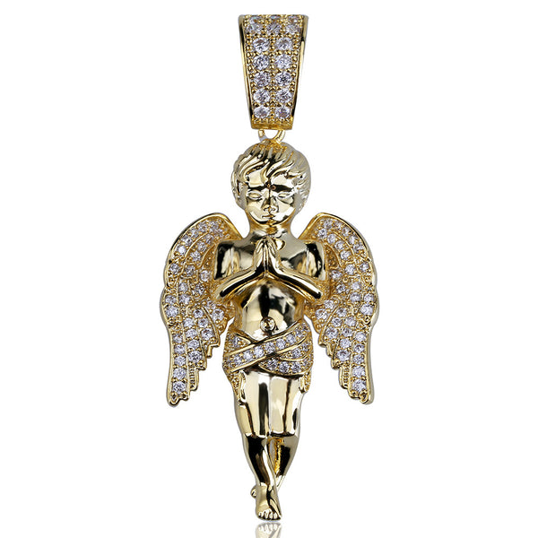 18K Gold-plated Iced Praying Angel Pendant