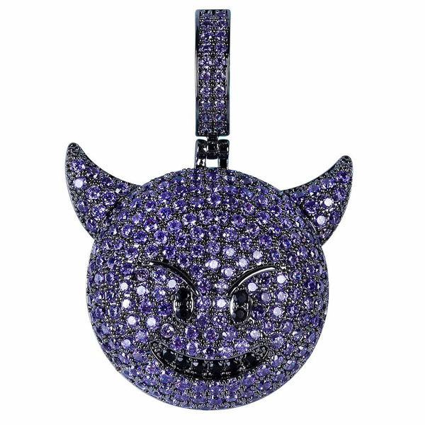 Purple Iced Devil Emoji Pendant