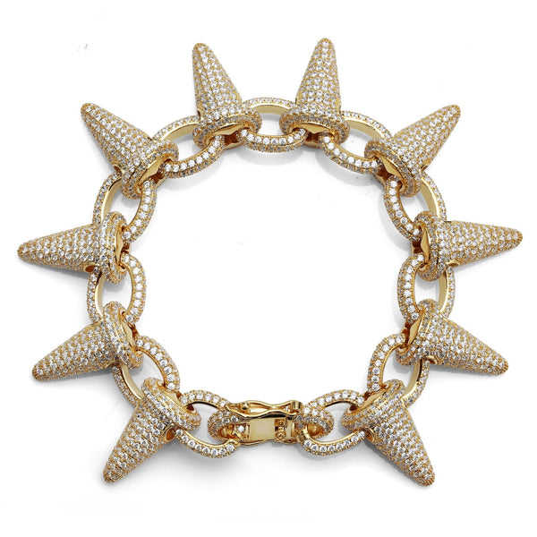 28mm Diamond Rivet Punk Spike Chain Bracelet