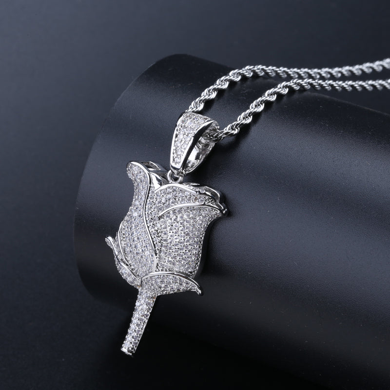 Diamond Iced out Rose Flower Pendant Necklace