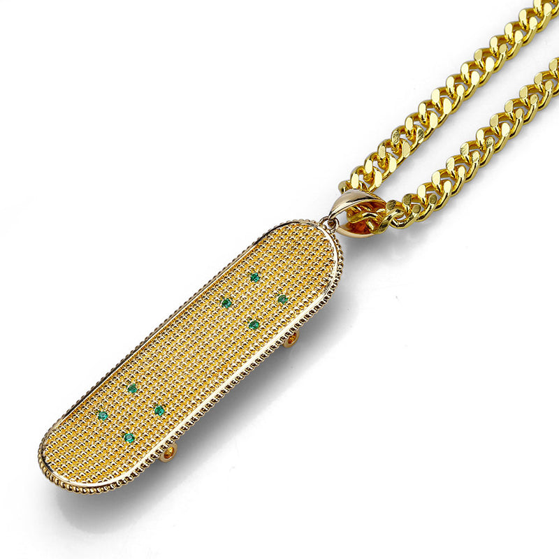 Full CZ Bling Skateboard Pendant Hip Hop Jewelry Necklace Gifts