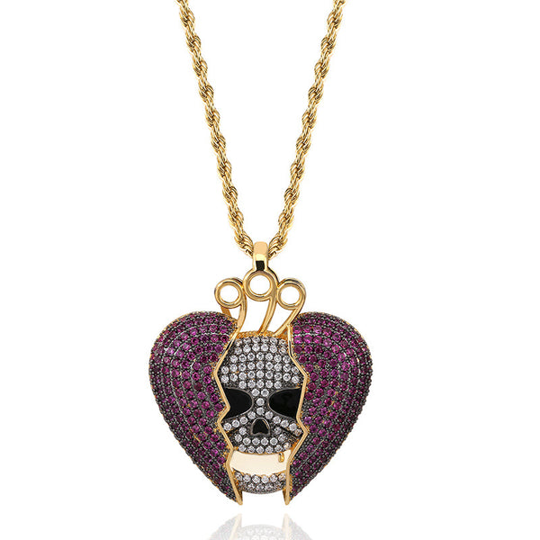 18K Gold-plated Iced Skull In Purple Broken Heart Pendant