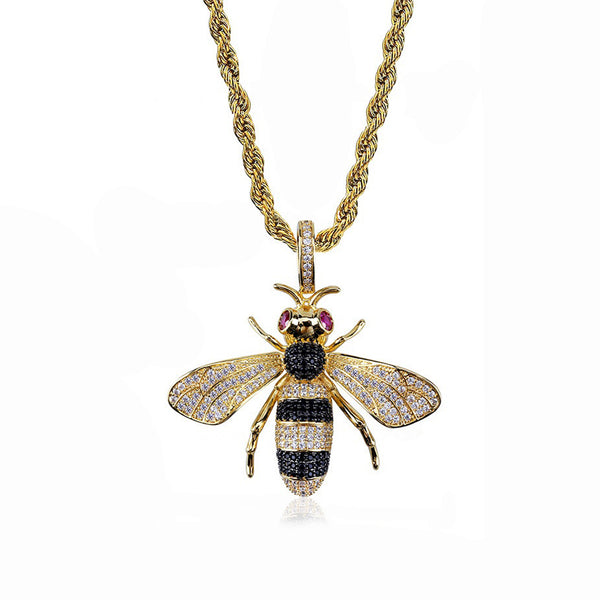 Hip Hop Men Women Jewelry Small Bee Pendant