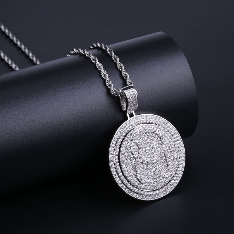 18K Gold-plated Spinning Diamond QC Pendant