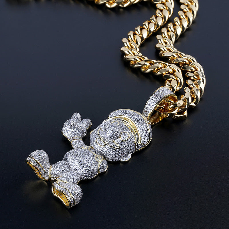18K Gold Finish Iced Super Mario Chain Pendant Cartoon Necklace