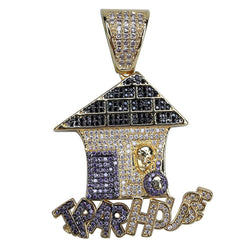 Gold Plated Simulated lab Diamonds TRAP HOUSE Pendant Hip Hop Fashion