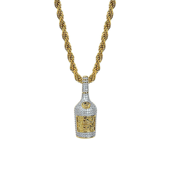 Hip Hop Street Jewelry Gold-plated Whisky Bottle Pendant Necklace