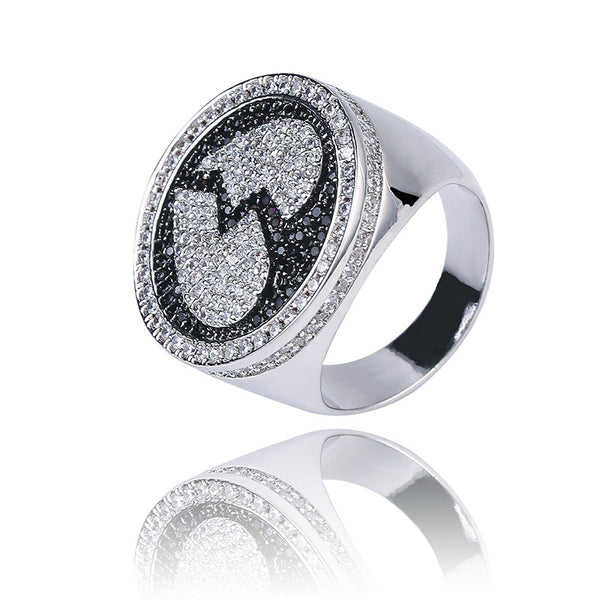 White Gold Iced out Heart-broken Ring