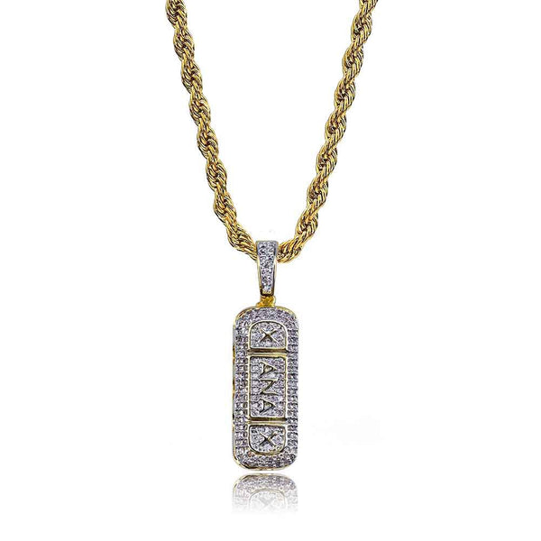 Hot Sale Hiphop Silver Gold Xanax Pill Pendant Letter Necklace