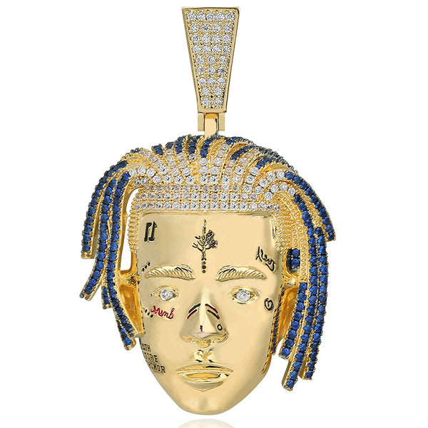18K Gold-plated Iced Xxxtentacion Head Portrait Pendant