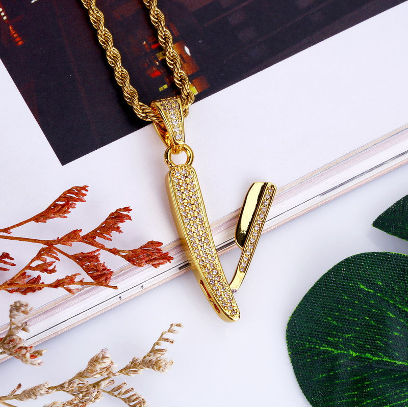 Straight Razor Pendant Necklace
