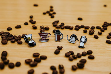 Coffee themed enamel pins (ALL 5): AeroPress, Chemex, V60, Kettle & Plunger.