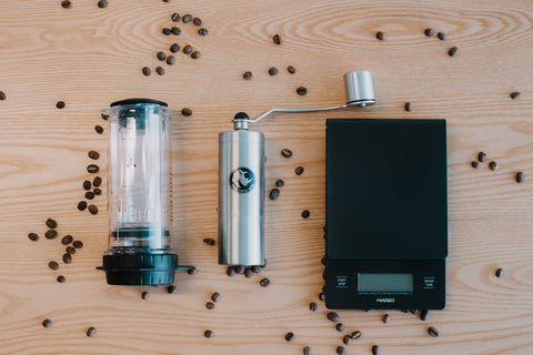 Delter Coffee Press + Grinder + Scales Bundle