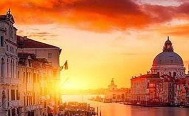 Stunning sunset over Venice, Italy.
