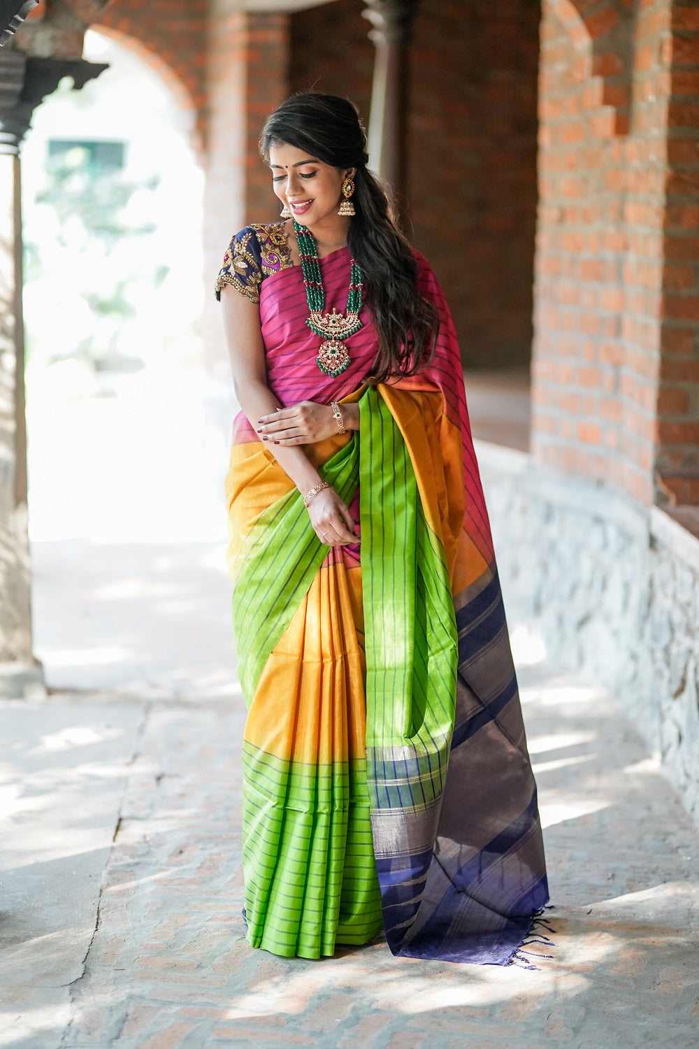 d3c536dfad1378 Rose, Yellow and Green Striped Saree With Navy Blue Pallu