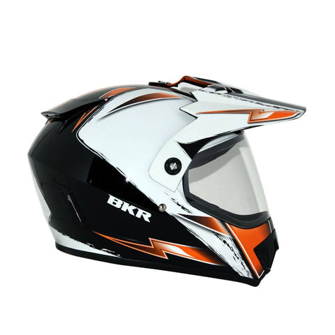 CASCO BKR CROSS CALLE BCO/NARANJA GRAFICO BEAT - Brotherhood Biker Store