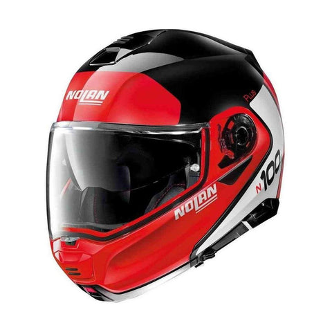 Nolan N100-5 Plus Destinctive 21 Negro Blanco Rojo - Brotherhood Biker Store