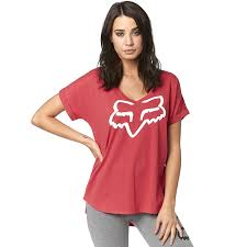 PLAYERA FOX RSPNDED SS VNECK DAMA ROJO - Brotherhood Biker Store
