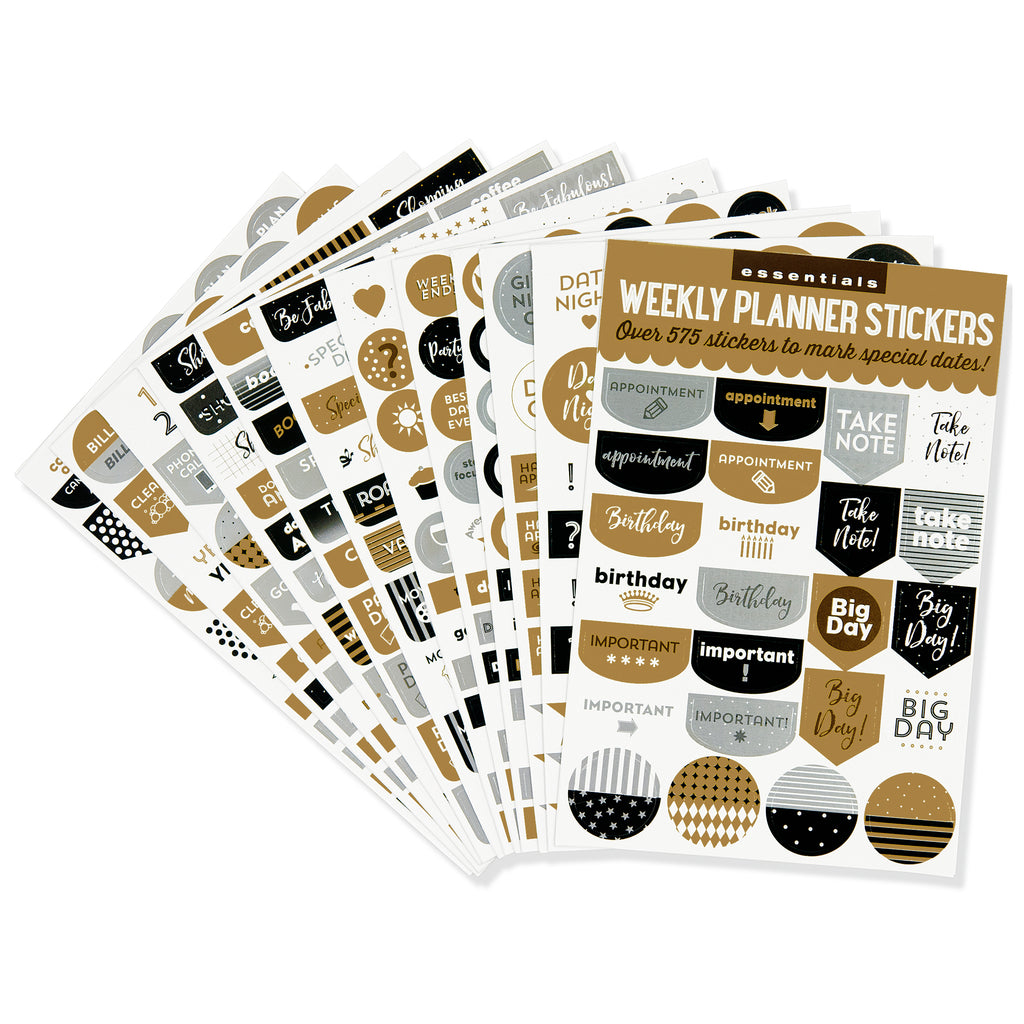Black & Gold Weekly Planner Stickers - 12 sheets - Paper Kooka