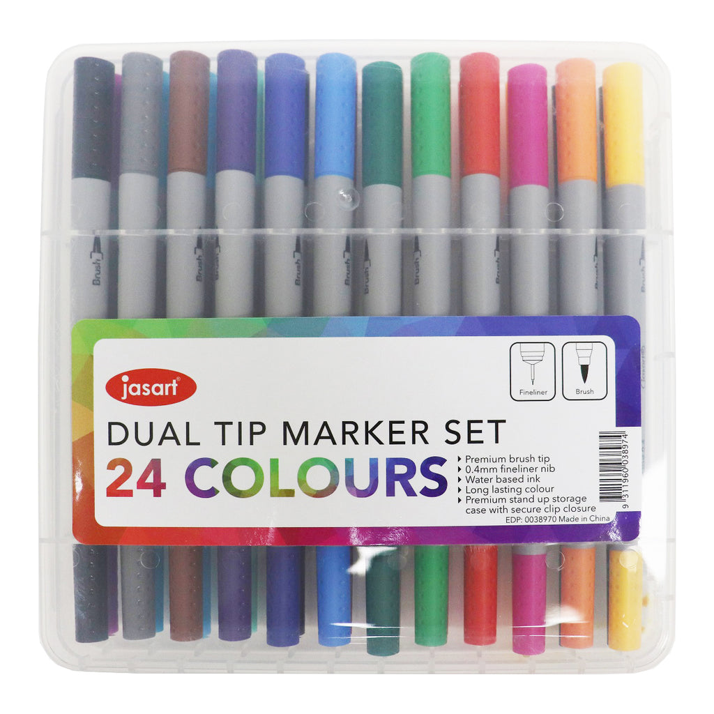 Jasart Dual Brush Pens - 24 Colour Set - Have a Point