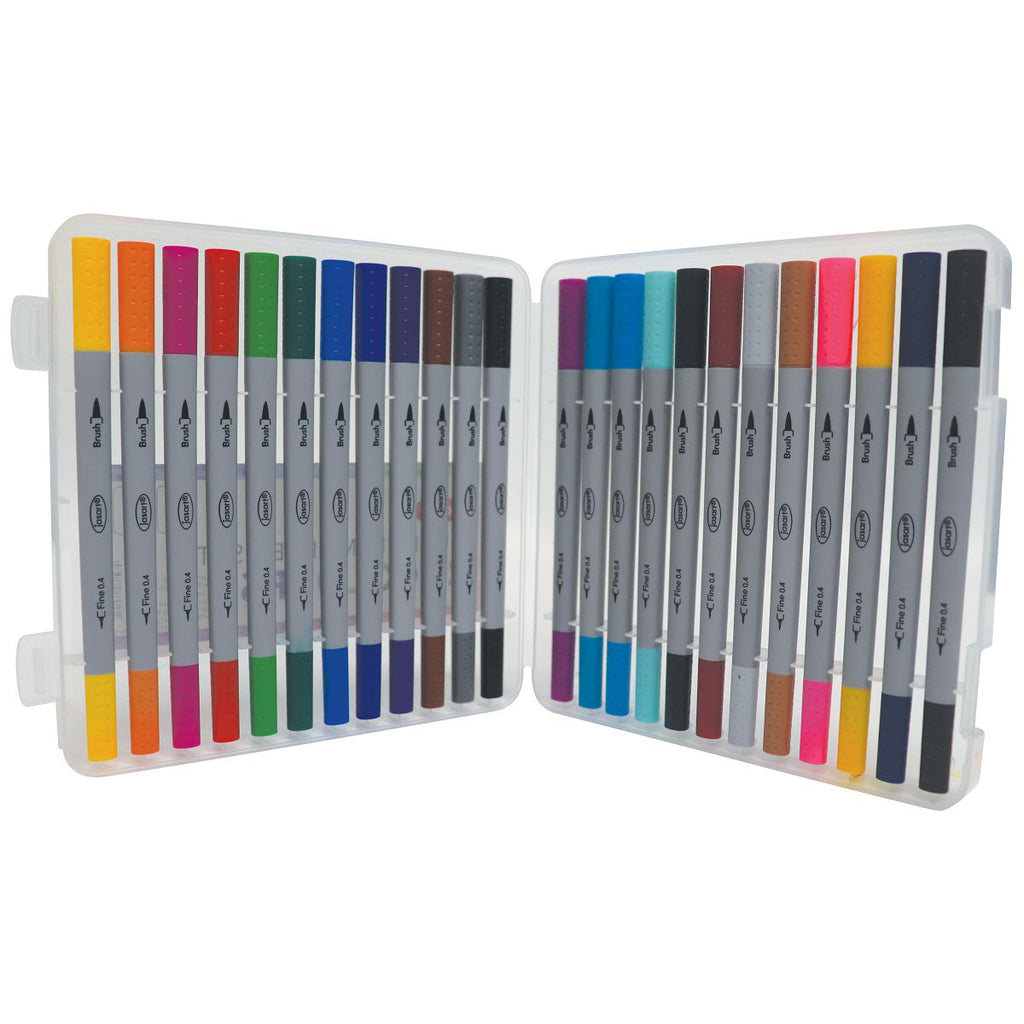 Jasart Dual Brush Pens - 24 Colour Set - Paper Kooka
