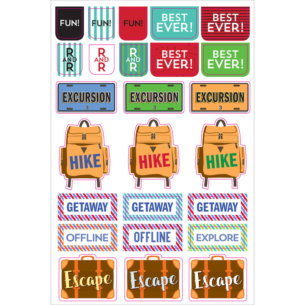 Travel Planner Stickers - 12 sheets - Paper Kooka