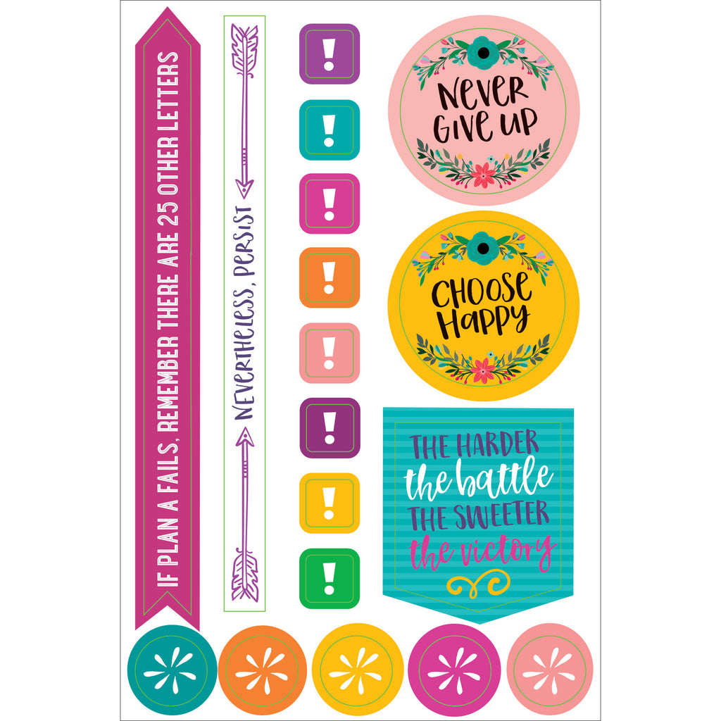 'Wake Up. Kick Ass.' Planner Stickers - 12 sheets - Paper Kooka