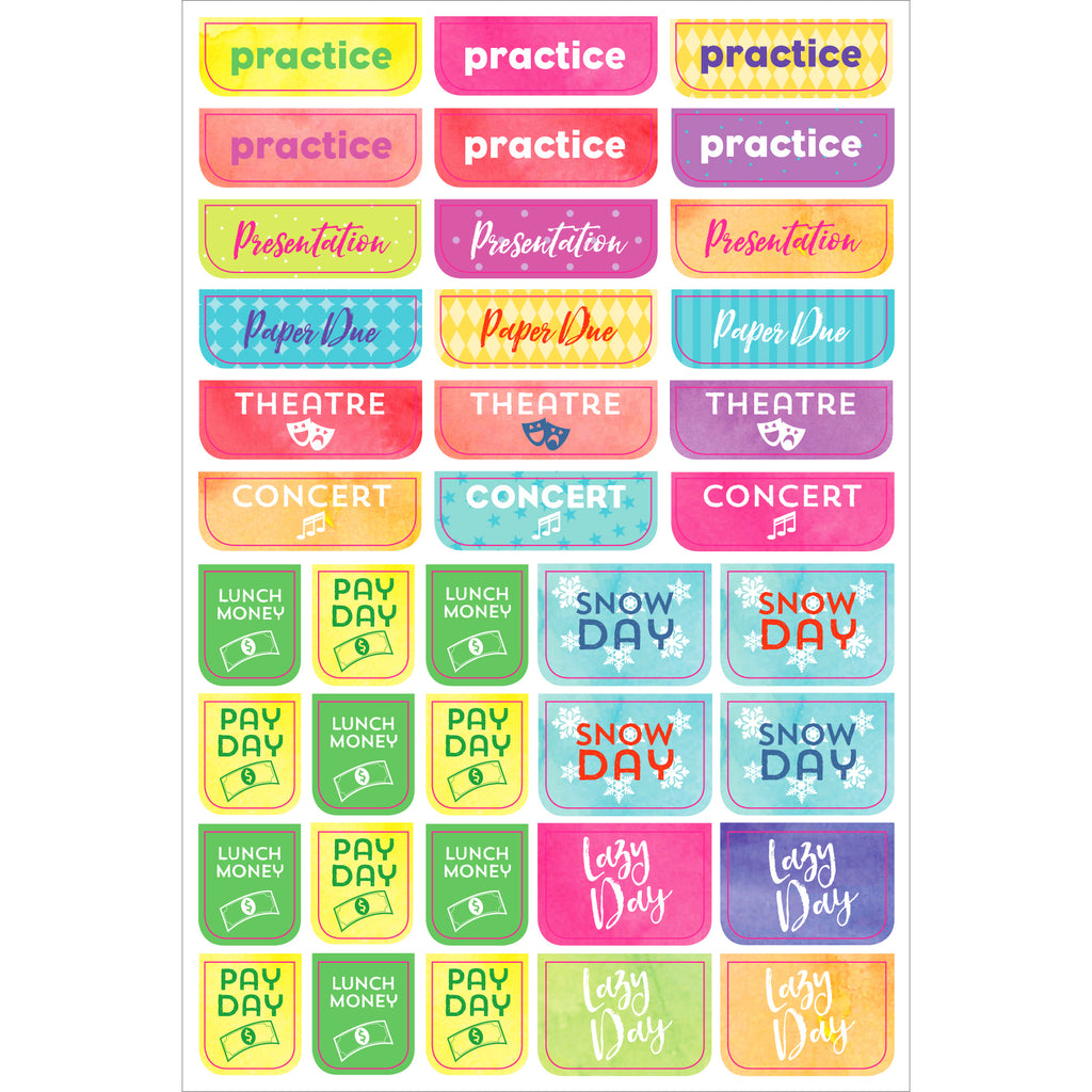 Student Planner Stickers - 12 sheets - Paper Kooka
