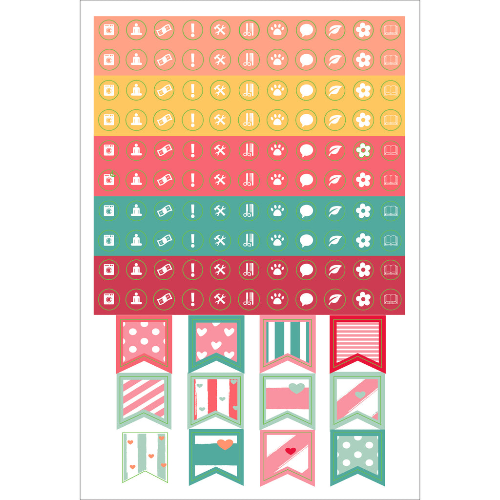 'Dotted Journal' Planner Stickers - 12 sheets - Paper Kooka